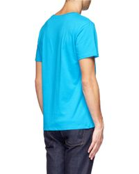 0ea0252ae Lyst - Maison Kitsuné Printed Cotton T-shirt in Blue for Men