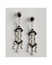 Kwiat | Diamond White Gold and Black Enamel Pagoda Earrings | Lyst