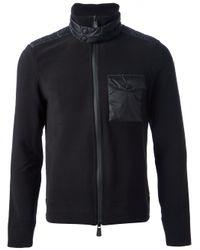 Moncler Grenoble | Black Padded Panel Cardigan for Men | Lyst