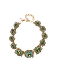 Oscar de la Renta | Green Sunburst Multi Crystal Necklace | Lyst