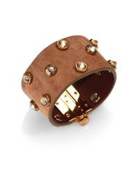 Tory Burch - Metallic Theophile Crystal-studded Suede Cuff Bracelet - Lyst