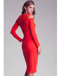 Bebe - Red Emma Cold Shoulder Wrap Dress - Lyst