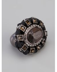 Lanvin | Black Gem Stone Ring | Lyst