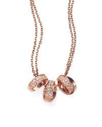 Michael Kors | Metallic Three Interlocking Ring Necklacerose Goldtone | Lyst