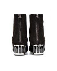 Miu Miu | Black Suede Ankle Boots with Embellished Heel | Lyst