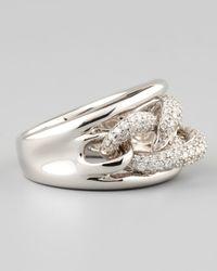Neiman Marcus - Metallic 18K White Gold Chain Link Diamond Ring - Lyst