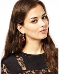ASOS - Red Two Stone Drop Earrings - Lyst