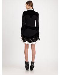 Alexander McQueen - Black Stud Collar Velvet Crepe Dress - Lyst