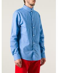 Carven - Blue Flannel Shirt for Men - Lyst