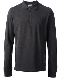 1b6fb851 Dior Long Sleeve Polo Shirt in Gray for Men - Lyst