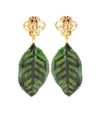 Dolce & Gabbana - Green Goldplated Clipon Earrings - Lyst
