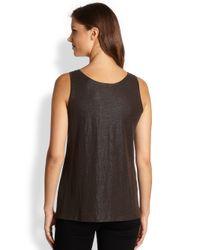 Eileen Fisher - Brown Linen Knit Tank Top - Lyst