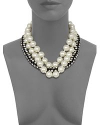 Kenneth Jay Lane - White Faux Pearl and Hourglass Bead Necklace - Lyst