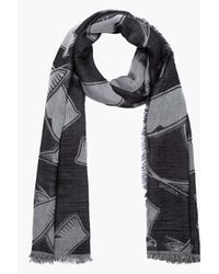 Kris Van Assche - Gray Grey and Black Reversed Eagle Print Scarf for Men - Lyst
