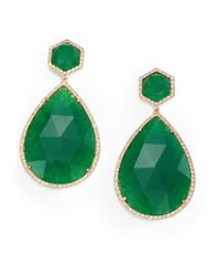 Mija | Green Jade & Pavé White Sapphire Teardrop Drop Earrings | Lyst