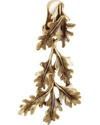Oscar de la Renta - Metallic Gold Plated Oak Leaf Clip Earrings - Lyst