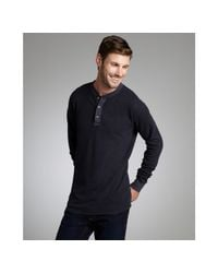 Tailor Vintage - Midnight Blue Cotton Thermal Knit Henley Shirt for Men - Lyst