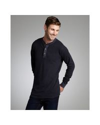 Tailor Vintage | Midnight Blue Cotton Thermal Knit Henley Shirt for Men | Lyst