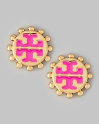 Tory Burch - Metallic Winslow Enamel Tlogo Stud Earrings Pink - Lyst
