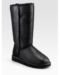 UGG | Black Classic Leather Tall Bomber Boots | Lyst
