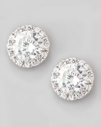 Fantasia by Deserio - White Pave Cubic Zirconia Stud Earrings - Lyst