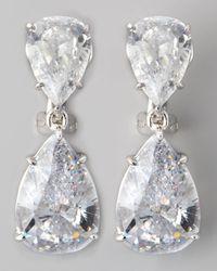 Fantasia by Deserio - White Two-Pear-Drop Cubic Zirconia Earrings - Lyst