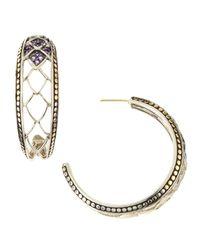 John Hardy - Metallic Naga Gold  Silver Amethyst Hoop Earrings - Lyst