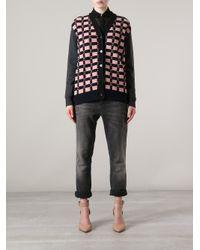 Marni - Pink Marni Textured Check Cardigan - Lyst
