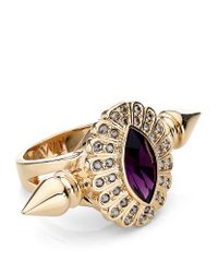 Mawi Purple Oval Crystal Double Spiked Ring
