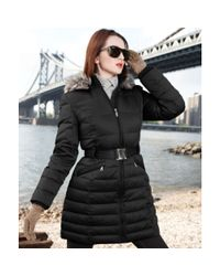 DKNY | Black Faux Fur Trim Hooded Belted Puffer | Lyst