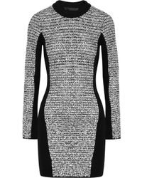 Alexander Wang | Gray Wool Blend and Rubberized Tweed Mini Dress | Lyst