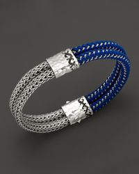 John Hardy - Metallic Mens Dayak Sterling Silver and Nylon Double Row Bracelet for Men - Lyst