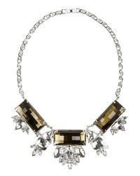 Noir Jewelry | Metallic Silverplated Crystal Necklace | Lyst