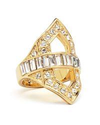 Rachel Zoe - Metallic Deco Cutout Crystal Ring - Lyst