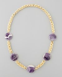 Devon Leigh - Metallic Amethyst Coin Necklace Purple - Lyst