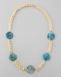 Devon Leigh | Blue Feldspar Coin Necklace | Lyst