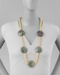 Devon Leigh - Metallic Turpan Jade Coin Necklace - Lyst
