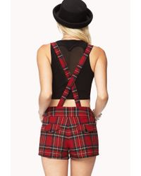 Forever 21 - Red Street-Chic Plaid Overall Shorts - Lyst
