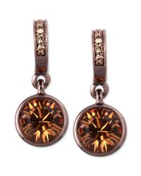 Givenchy | Metallic Brown Gold Tone Glass Stone Drop Earrings | Lyst