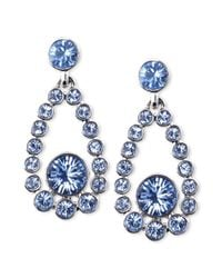 Givenchy | Blue Silver Tone Light Sapphire Crystal Teardrop Earrings | Lyst