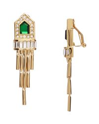 Rachel Zoe - Green Fringe Earrings - Lyst