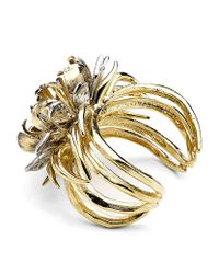 Roberto Cavalli | Metallic Flower Cuff with Swarovski Crystals | Lyst