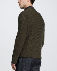 Vince - Green Fisherman Cableknit Sweater for Men - Lyst