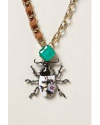 Anthropologie | Brown Painted Scarab Pendant Necklace | Lyst