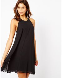 ASOS - Black Zip Back Swing Dress - Lyst