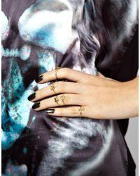 ASOS - Metallic Love Heart Finger Tip Ring Pack - Lyst