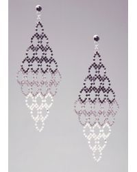 Bebe - White Multi Tiered Ombre Crystal Earrings - Lyst