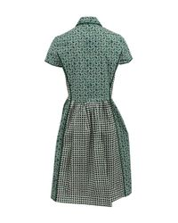 79d3fb2f99 Oscar de la Renta Short Sleeve Boyfriend Shirt Dress in Green - Lyst