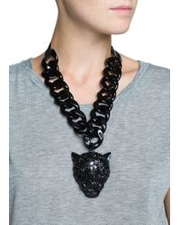 Mango | Black Rhinestone Panther Necklace | Lyst