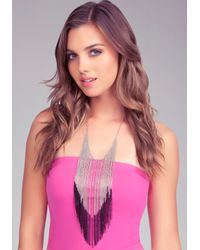 Bebe - Metallic Colorblock Long Fringe Necklace - Lyst